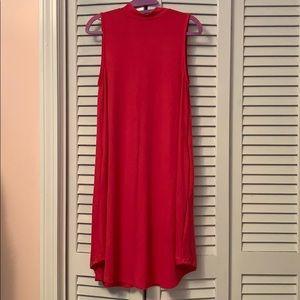 Magenta Sleeveless Mock Turtleneck Dress
